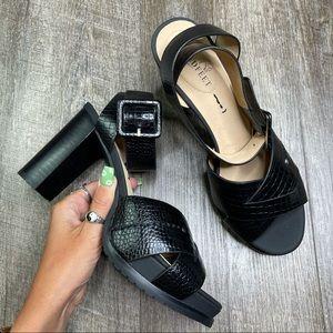 Naked Feet Ciro Black Leather Heeled Sandals 7.5